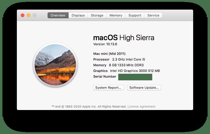About This Mac Mac Mini High Sierra