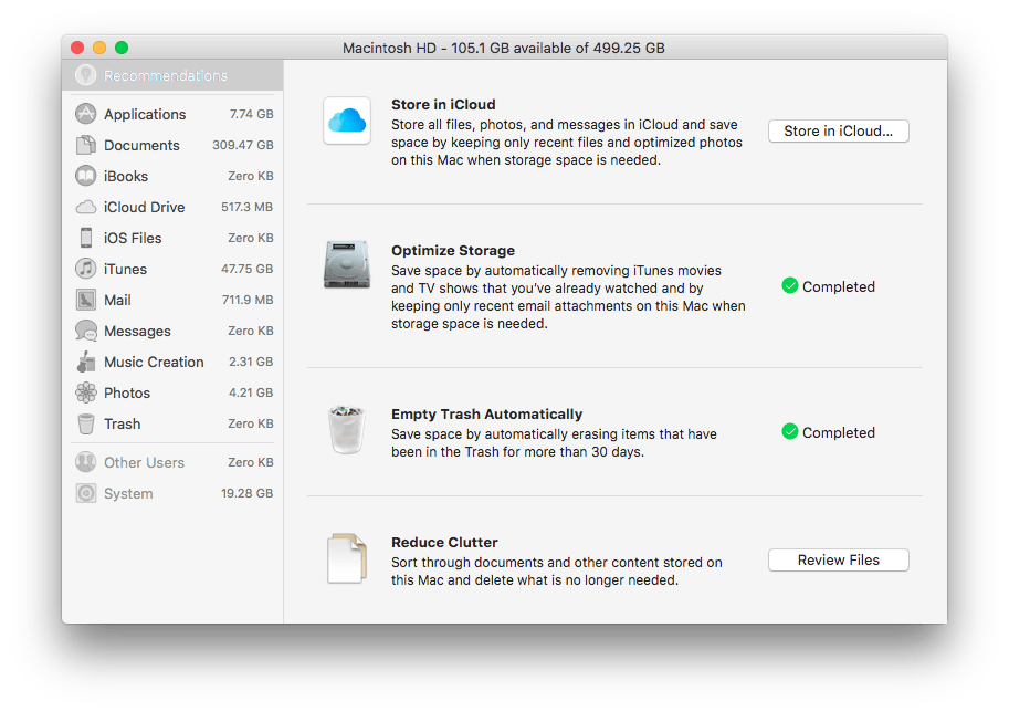 Apple Mac Manage Storage information